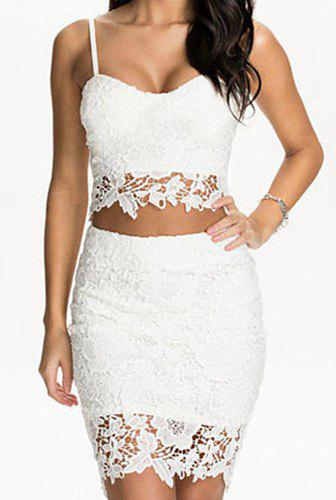 7fb5d07d27 Discount Sexy Spaghetti Strap Sleeveless Cut Out Tank Top + High-Waisted  Lace Skirt Women's