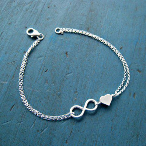 Trendy Silver Plated Infinity Heart Charm Bracelet