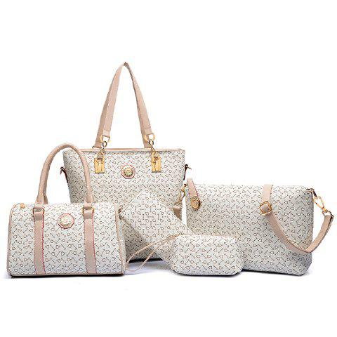 Elegant Arrow Print and PU Leather Design Womens Shoulder BagSHOES &amp; BAGS<br><br>Color: OFF-WHITE; Handbag Type: Shoulder bag; Style: Fashion; Gender: For Women; Pattern Type: Others; Handbag Size: Medium(30-50cm); Closure Type: Zipper; Interior: Interior Zipper Pocket; Occasion: Versatile; Main Material: PU; Weight: 1.4400kg; Size(CM)(L*W*H): 30*13*28; Strap Length: Short: 22CM, Long: 60-125CM (Adjustable); Package Contents: 1 x Shoulder Bag,1 x Tote Bag,1 x Crossbody Bag,1 x Clutch,1 x Wallet;