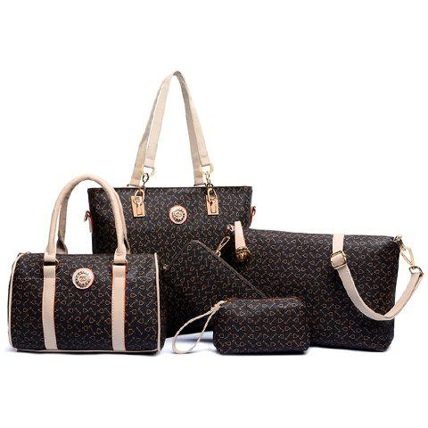 Elegant Arrow Print and PU Leather Design Womens Shoulder BagSHOES &amp; BAGS<br><br>Color: BROWN; Handbag Type: Shoulder bag; Style: Fashion; Gender: For Women; Pattern Type: Others; Handbag Size: Medium(30-50cm); Closure Type: Zipper; Interior: Interior Zipper Pocket; Occasion: Versatile; Main Material: PU; Weight: 1.4400kg; Size(CM)(L*W*H): 30*13*28; Strap Length: Short: 22CM, Long: 60-125CM (Adjustable); Package Contents: 1 x Shoulder Bag,1 x Tote Bag,1 x Crossbody Bag,1 x Clutch,1 x Wallet;