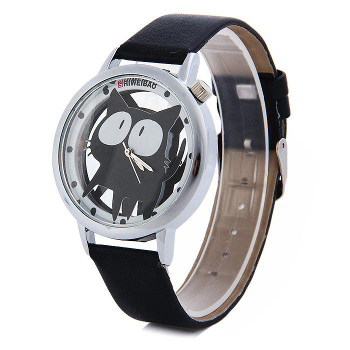 Shiweibao A7741 Cat Design Transparent Dial Quartz Watch Leather Strap for WomenJEWELRY<br><br>Color: BLACK; Brand: Shiweibao; Watches categories: Female table; Available Color: Black,Blue,Pink,Red,White; Style: Fashion&amp;Casual;