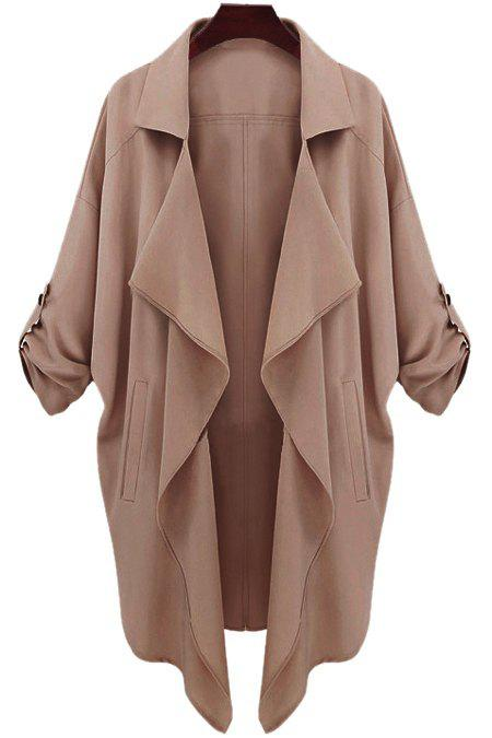 Fashion Lapel Neck Long Sleeve Solid Color Trench Coat