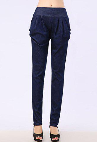 Sale Stylish Mid-Waisted Solid Color Pocket Design Women's Jeans