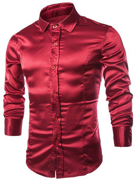 Outfits Stylish Shirt Collar Splicing Design Solid Color Slimming Long Sleeve Cotton Blend Shirt For Men