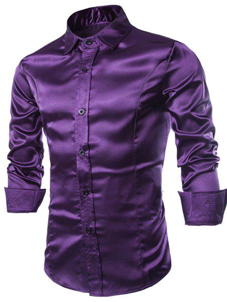Latest Stylish Shirt Collar Splicing Design Solid Color Slimming Long Sleeve Cotton Blend Shirt For Men