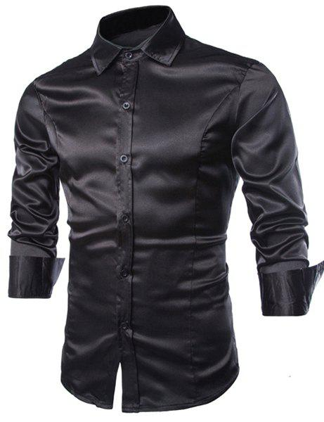 Outfit Stylish Shirt Collar Splicing Design Solid Color Slimming Long Sleeve Cotton Blend Shirt For Men