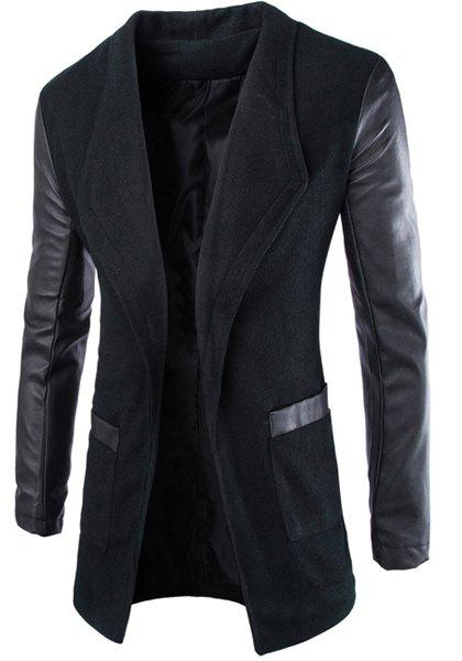 New Trendy Lapel Large Pocket PU Leather Splicing Slimming Long Sleeve Woolen Blend Coat For Men