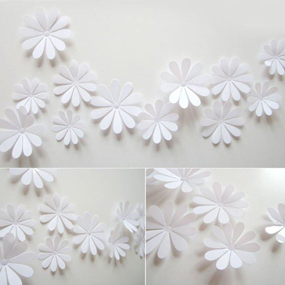 White Diy 3d Flowers Wall Sticker Mirror Art Decal Pvc Paper For