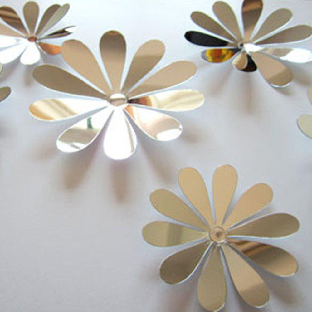 Silver Diy 3d Flowers Wall Sticker Mirror Art Decal Pvc Paper For