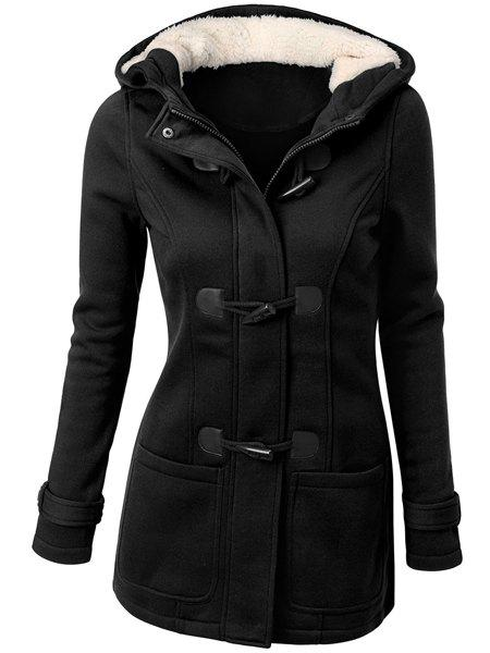 Hooded Double-Pocket Flocking Long Sleeve Long Winter CoatWOMEN<br><br>Size: S; Color: BLACK; Clothes Type: Wool &amp; Blends; Material: Polyester; Type: Slim; Shirt Length: Long; Sleeve Length: Full; Collar: Hooded; Pattern Type: Solid; Embellishment: Pockets; Style: Casual; Weight: 0.790kg; Package Contents: 1 x Coat;