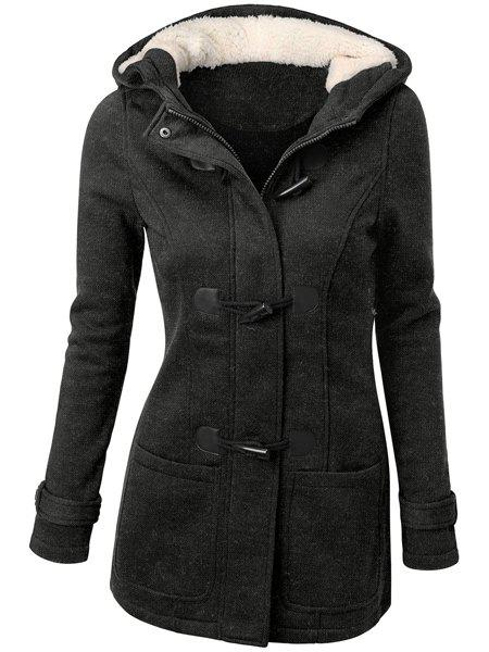 Hooded Double-Pocket Flocking Long Sleeve Long Winter CoatWOMEN<br><br>Size: M; Color: DEEP GRAY; Clothes Type: Wool &amp; Blends; Material: Polyester; Type: Slim; Shirt Length: Long; Sleeve Length: Full; Collar: Hooded; Pattern Type: Solid; Embellishment: Pockets; Style: Casual; Weight: 0.790kg; Package Contents: 1 x Coat;