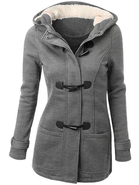 Hooded Double-Pocket Flocking Long Sleeve Long Winter CoatWOMEN<br><br>Size: XL; Color: LIGHT GRAY; Clothes Type: Wool &amp; Blends; Material: Polyester; Type: Slim; Shirt Length: Long; Sleeve Length: Full; Collar: Hooded; Pattern Type: Solid; Embellishment: Pockets; Style: Casual; Weight: 0.790kg; Package Contents: 1 x Coat;