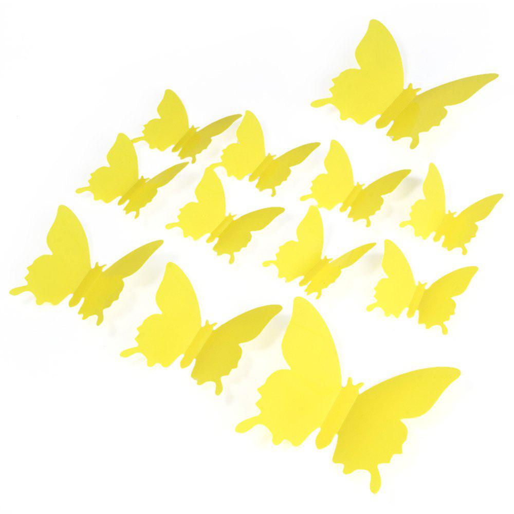 Yellow Diy 3d Butterfly Wall Stickers Mirror Art Decal Pvc Paper For ...