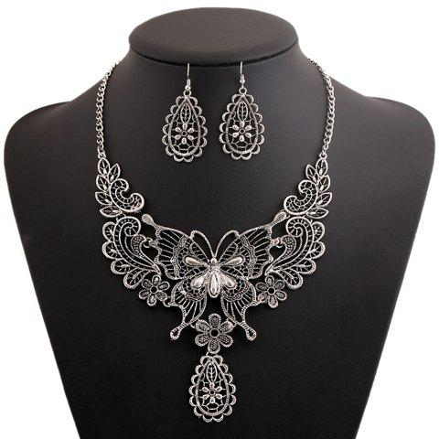 A Suit Chic Floral Butterfly Pendant Necklace And Earrings For WomenJEWELRY<br><br>Color: SILVER GRAY; Item Type: Pendant Necklace; Gender: For Women; Style: Trendy; Shape/Pattern: Floral; Length: 50CM?Necklace?; Weight: 0.090KG; Package Contents: 1 x Necklace? 1 x Earring?Pair?;