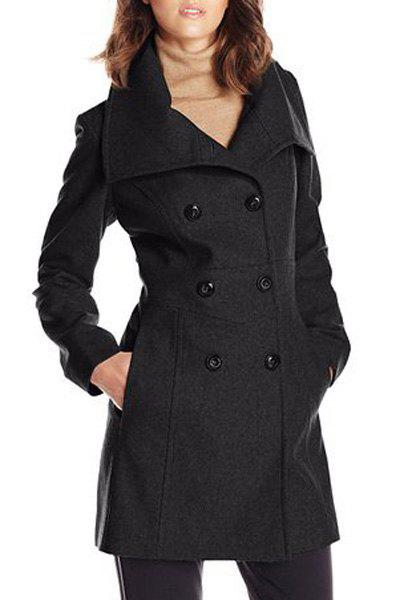 New Stylish Solid Color Turn-Down Collar Double-Breasted Long Sleeve Coat For Women