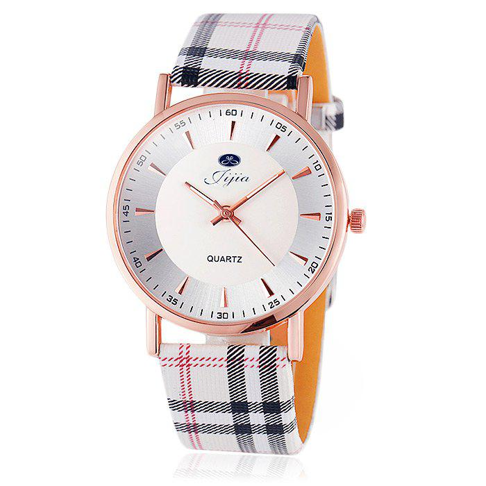 Jijia Golden Case Women Quartz Watch Plaid Leather Strap DESCRIPTION
