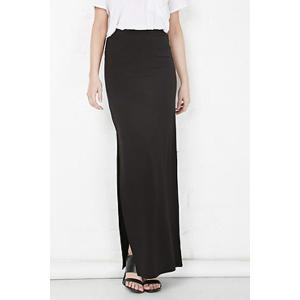 Plus Zellie Maxi Skirt With Slit - Black - S