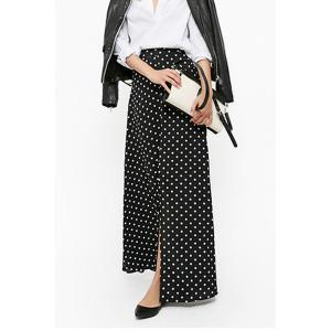 Polka Dot Maxi Skirt With Slit - Black - S