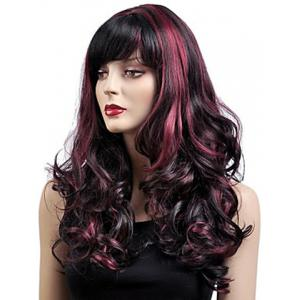 Gorgeous Shaggy Capless Wine Red Highlight Synthetic Long Wavy Women's Wig With Inclined Bang -