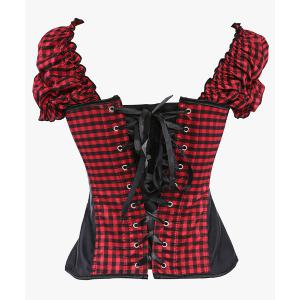 Stylish Short Sleeve Square Self-Tie Zipper Fly Checked Women's Corset -