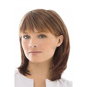 Fluffy Medium Inclined Bang Trendy Natural Straight Mixed Color Capless Synthetic Wig For Women -