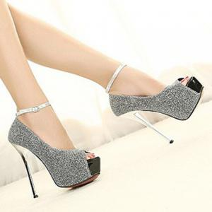 Sexy Stiletto Heel and Sequined Design Women's Peep Toe Shoes -