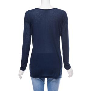 Stylish Scoop Neck Long Sleeve Loose-Fitting High Low T-Shirt For Women -
