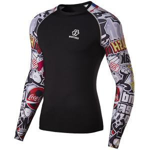 Modish Round Neck 3D Letter Print Splicing Skinny Long Sleeve Polyester Quick-Dry T-Shirt For Men -