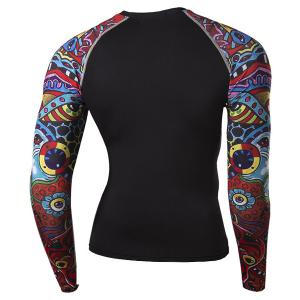 Stylish Round Neck 3D Colorful Cartoon Print Splicing Skinny Long Sleeve Quick-Dry T-Shirt For Men -