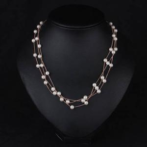 Luxury Layered Faux Pearl Necklace For Women