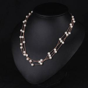 Luxury Layered Faux Pearl Necklace For Women - ROSE GOLD