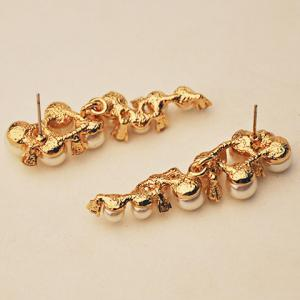 Pair of Gorgeous Faux Pearl Rhinestone Earrings For Women -