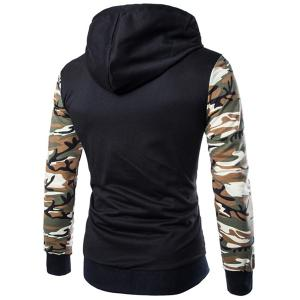 Classic Camo Spliced Rib Hem Color Block Slimming Hooded Long Sleeves Men's Fashion Hoodie - GREEN M