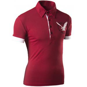 Trendy Turndown Collar 3D Eagle Pattern Slimming Short Sleeve Polo T-Shirt For Men - RED XL