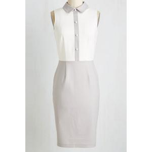 Vintage Color Block Bodycon Dress - Gray - L