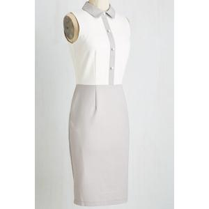 Vintage Color Block Bodycon Dress - GRAY 2XL