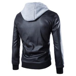 Faux Twinset Color Block Rib Spliced Hooded Fashion Slimming Long Sleeves Men's PU Leather Coat -