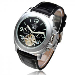 Forsining 005 Men Tourbillon Genuine Leather Band Automatic Mechanical Watch with Two Working Sub-dials -