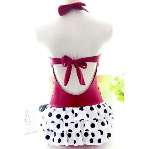 Sexy Style Halter Polka Dot Layered Self-Tie Women's Swimwear -