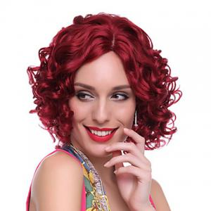 Attractive Centre Parting Deep Red Curly Medium Capless Heat Resistant Synthetic Wig For Women -