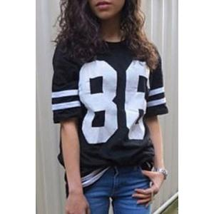 Chic Number and Stripe Printed Half Sleeve Long T-Shirt For Women