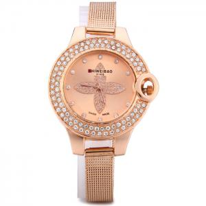 Shiweibao A1468 Flower Pattern Diamond Dial Quartz Watch with Steel Net Strap for Women - GOLDEN
