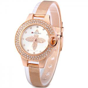 Shiweibao A1468 Flower Pattern Diamond Dial Quartz Watch with Steel Net Strap for Women -
