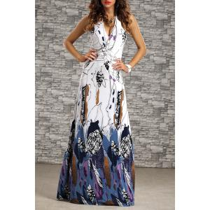 Halter Printed Floor Length Evening Dress