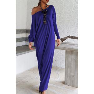 Stylish Skew Neck Long Sleeve Solid Color High Slit Dress For Women