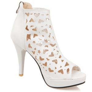 Hollow Out Heeled Open Toe Ankle Boots - White - 39