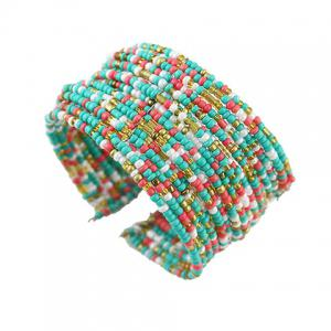 Chic Multi-Layered Beads Decorated Cuff Bracelet For Women - COLORMIX