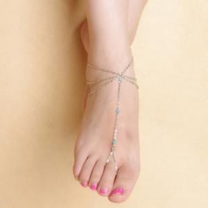 Faux Crystal Beads Layered Tassel Anklet