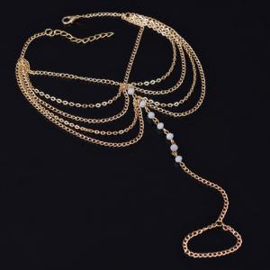 Faux Crystal Beads Layered Anklet -