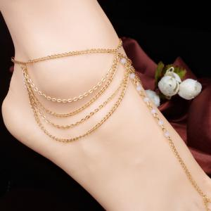 Faux Crystal Beads Layered Anklet - White